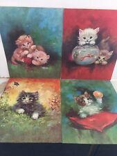 Vintage Lot of 4 Florence Kroger Lithographs Prints Feline Cats Kittens