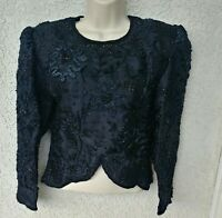 Jennifer Women's Black Embroidered Beaded Blouse Fitted Pure Silk Formal Top S