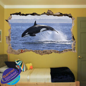 KILLER WHALE JUMP ORCA OCEAN SEA ROOM NURSERY OFFICE WALL STICKER ART MURAL XP8