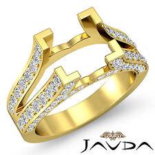 Diamond Princess Semi Mount Anniversary Pave Setting Ring 14k Yellow Gold 1Ct