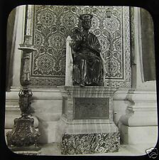 Glass Magic lantern slide BRONZE STATUE OF ST PETER THE VATICAN ROME C1890 ITALY