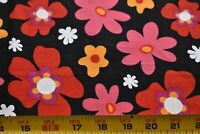 "34"" Long, Red Pink Yellow Floral on Black Quilt Fabric, Windham/Whistler, N5140"