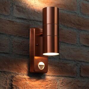 Auraglow PIR Motion Sensor Stainless Steel Up & Down Wall Security Light Copper