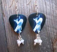 Singing Elvis Guitar Pick Earrings with White Swarovski Crystal Dangles