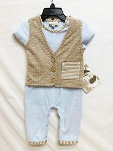 New Cach Cach Boy's Baby Blue Jumpsuit Tan Vest Infant Clothes