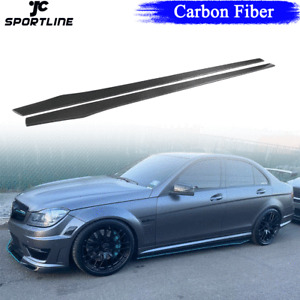 205cm Carbon Fiber Universal Side Skirts Extension Fit For BMW F82 E90 W205 W204