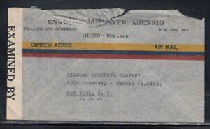 ECUADOR Censored Cover Quito to New York City 6-9-1942 Cancel