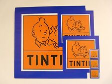 """LOT(6)OF OFFICIALS  PLASTIFIED TINTIN STICKERS 3 DIFFERENTS SIZE FROM 12½""""X12½"""""""