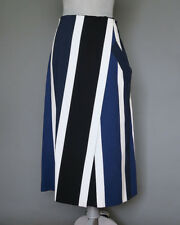 *Max Mara Blue White Striped Midi Skirt with Pocket Size 8 Size M MSRP $725.00