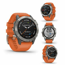 Garmin fenix 6 Pro Sapphire Titanium with ember orange band Sport Smart Watch