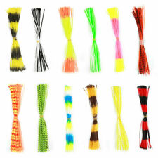 12 Bundles 50 Strands Silicone Skirts Fishing Rubber DIY Jig Lure Mixed Color❤D