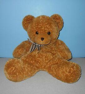 "18"" Animal Alley Soft Bean Tush Lovey Plush Cocoa Teddy Bear w/ Plaid Ribbon"