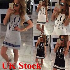 Summer Womens Casual Short Sleeve Love Printed Mini Dress Lady Loose T-shirt Tee