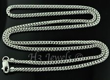 18k solid white gold franco chain necklace italian  18 inch 8.80 grams #4129