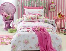 3 pc Girls Shabby Chic Single Bed Quilt Doona Cover Set & Bird Shape Cushion