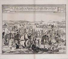 Antique map, See treffen zwischen den Schwedischen und Hollandischen Flootten