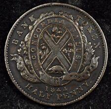 CANADA TOKEN NIGHT! NICE 1844 HALF PENNY BANK OF MONTREAL TOKEN. BRETON #527 /2