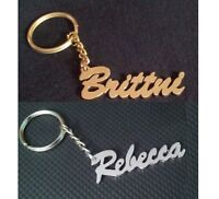 Your Name Personalized Key chain KeyRing Gift Idea Choose White or Golden Metal