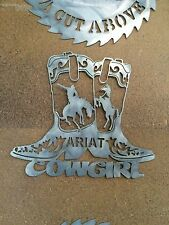 ARIAT BOOTS COWGIRL RARE LGE HEAVY DUTY PLASMA CUT  METAL SIGN BOOT RM WILLIAMS