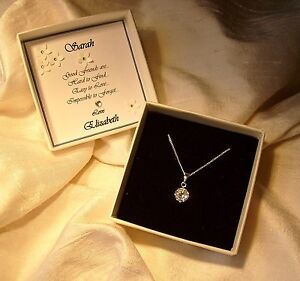 Friendship Gift Sterling Silver pendant CZ personalized box jewellery necklace