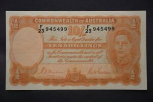 Australian 1939 10 Shilling Banknote Sheehan / McFarlane R12 Nice GVF - EF RARE