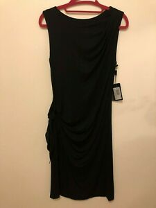 Giorgio Armani Women's Sleeveless Draped Knot Jersey Dress, Size 8/44 Black NWT