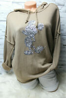 Italy Hoodie Pullover Vintage Gr. 36 38 40 42 Sweat Shirt taupe MIckey Mouse