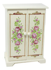 Avon Jewelry Armoire Tabletop Floral Painted Wood Drawer Necklace Spinner Mirror