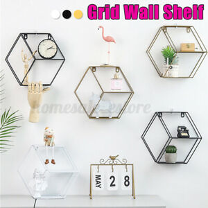 Iron Hexagonal Grid Shelf Combination Wall Hanging Geometric Figure Bedroom