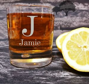 Personalised Engraved whiskey Glass, name and iniotial design great gift WTB6