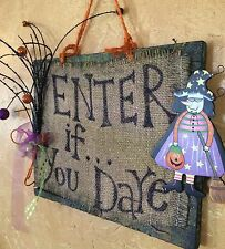"Halloween Wreath/Wall Hanging.....""ENTER IF YOU DARE"""