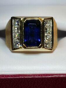 5.00 TCW, Designer Iliana 24 Grams 18 KYG Men's Ring Size 10 Tanzanite+ Diamond
