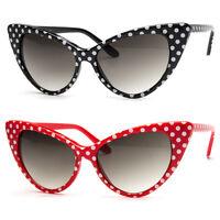 Retro Vintage Style Polka Dot Design Retro Cat Eye Sunglasses Hollywood 50s 60s