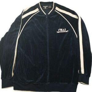 Rocawear Men's Large Blue White Stripe Velour Track Jacket Full Zip