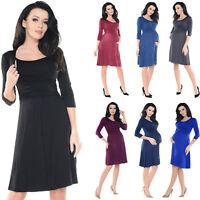 Purpless Maternity 2 in 1 Pregnancy & Nursing 3/4 Sleeved Skater Dress 7240