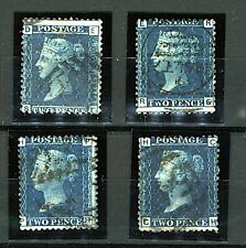 GB  QV 1858/70 2d blue perforate plates 9, 13, 14 and 15 sg46 cv£120+ (4v Stamps