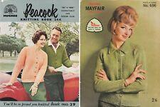 2x 50s/60s VINTAGE PATONS & PEACOCK KNITTING PATTERN BOOKS Ladies, Mens, Kids