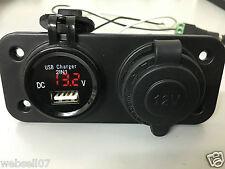 1 x USB & Voltmeter & Cigarette Lighter 12v 24v Adapter Charger Digital  Sockets