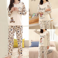 Women Girls Lady Cotton Sleepwear Long Sleeve Pajamas Sets Cartoon Printing Suit