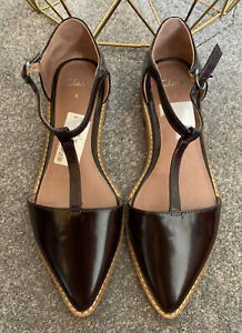 CLARKS BROWN PATENT T BAR FLAT SHOES UK 4 NEW