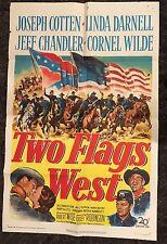 TWO FLAGS WEST 1sh '50 cool Civil War art, plus Joseph Cotten