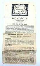 Vintage 1936 Monopoly Parker Brothers Instructions Only