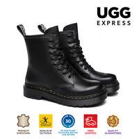Ugg Women Boots Simona Lift Platform Shoes Lace Up Leather Marten Boots