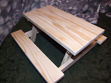 """18"""" Doll Furniture Picnic Table Handmade for American Girl Size Doll -Unfinished"""