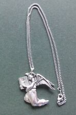 Angel pewter pendant, Archangel Uriel, hand made with surgical steel chain