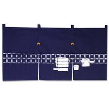 "Japanese 34 x 17"" Indigo Noren Curtain 3-Panel ""Soba- Dogu""/Made in Japan"