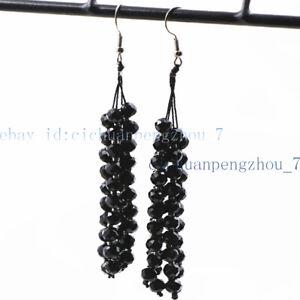 4x6mm Faceted Multi-color Crystal Beads Long Tassel Dangle Silver Hook Earrings