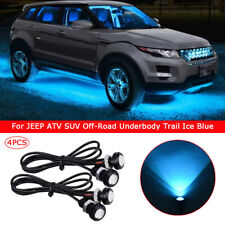 4x Waterproof LED Rock Light for JEEP ATV SUV Off-Road Underbody Trail Ice Blue