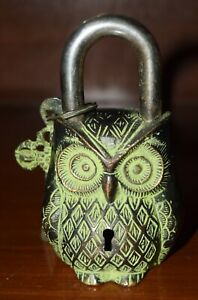Vintage Style Owl Shape Door Lock Brass Handmade Home Protection Padlock CJ150