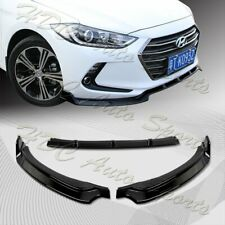 For 2017-2018 Hyundai Elantra Painted Black Front Bumper Body Spoiler Lip 3Pcs